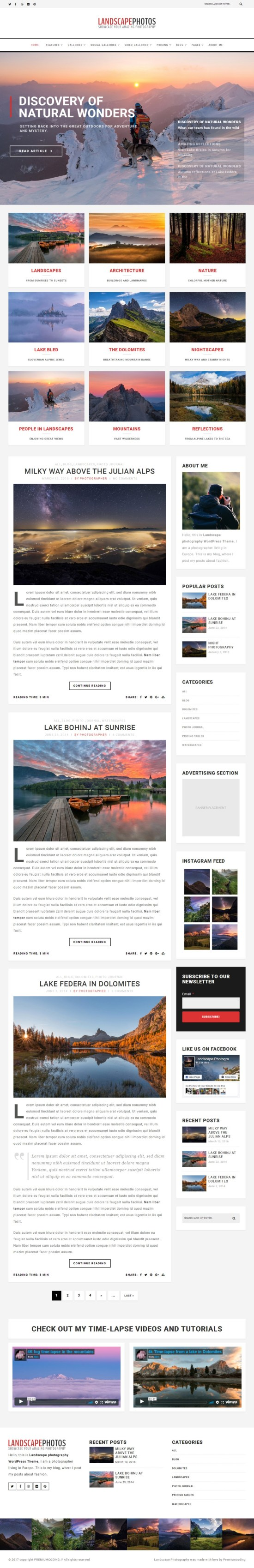 landscape photo blog templatemonster 01 - Landscape Photography WordPress Theme