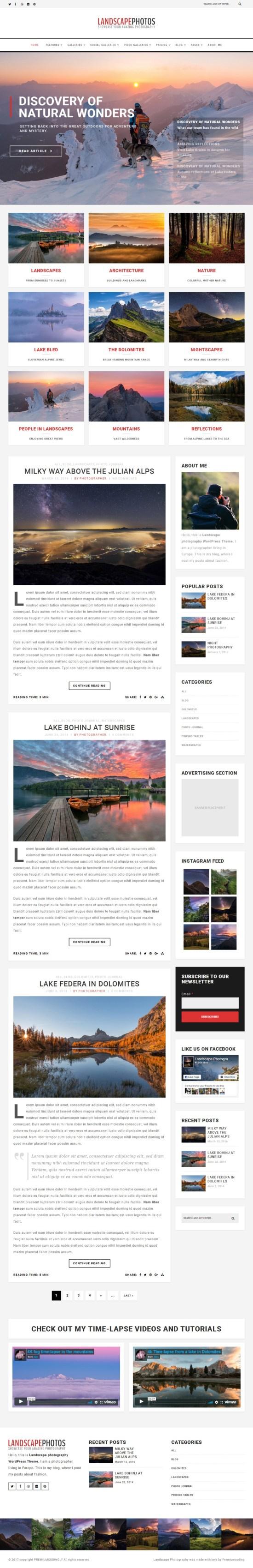 landscape photo blog templatemonster 01 - Landscape Photography WordPress Theme