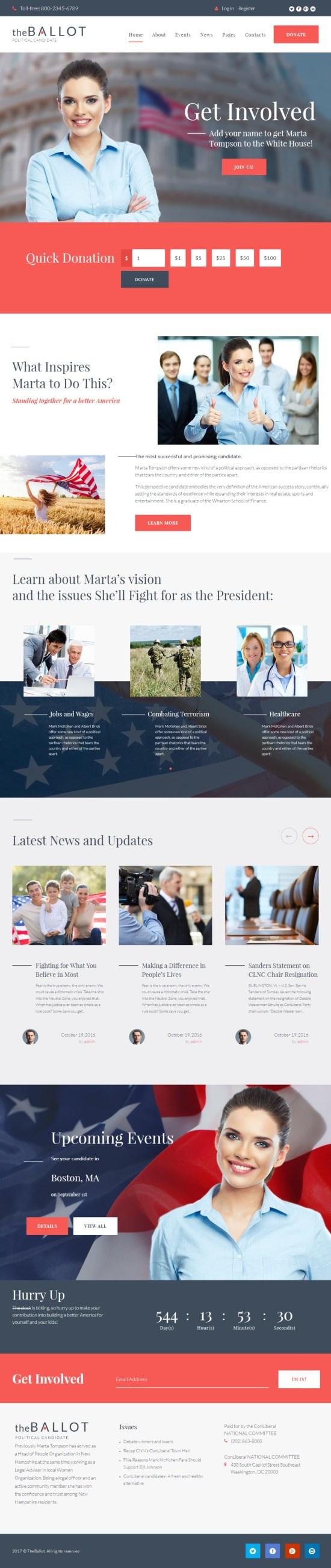 the ballot–political candidate wordpress theme - The Ballot WordPress Theme