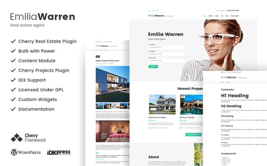emilia warren wordpress theme 01 - Top 20 Fresh Feminine & Minimal WordPress Themes