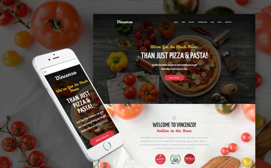 Vincenzo: Feature-Rich Pizza Restaurant WordPress Site