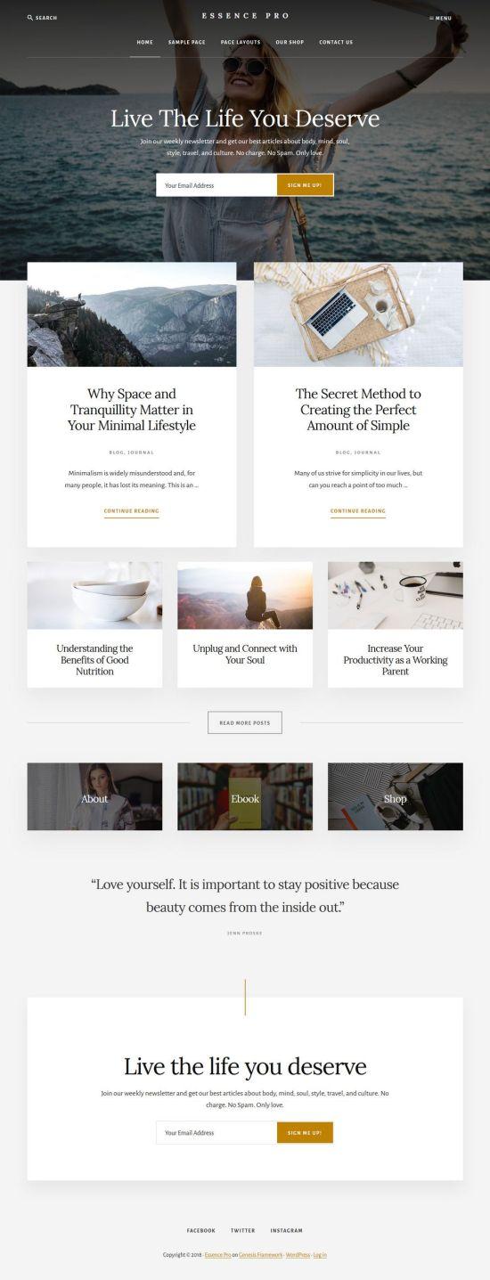 essence pro wordpress theme 01 - Essence Pro WordPress Theme