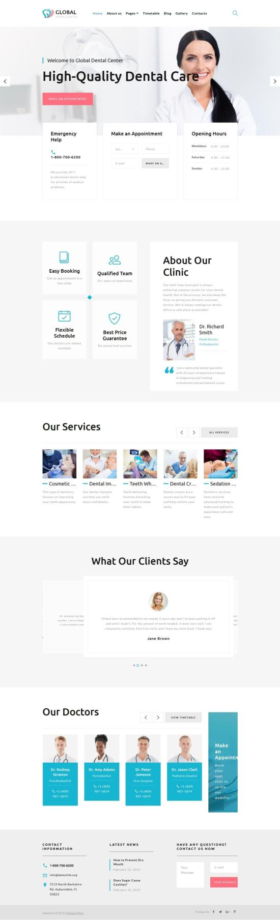 Global Dental Center Joomla Template Preview