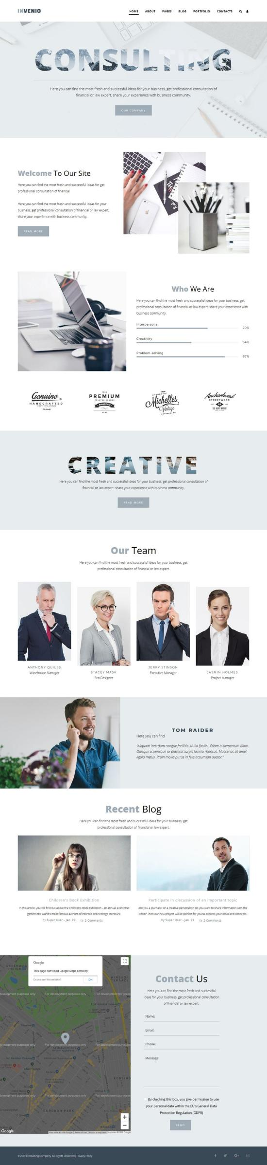 Invenio Joomla Template Preview