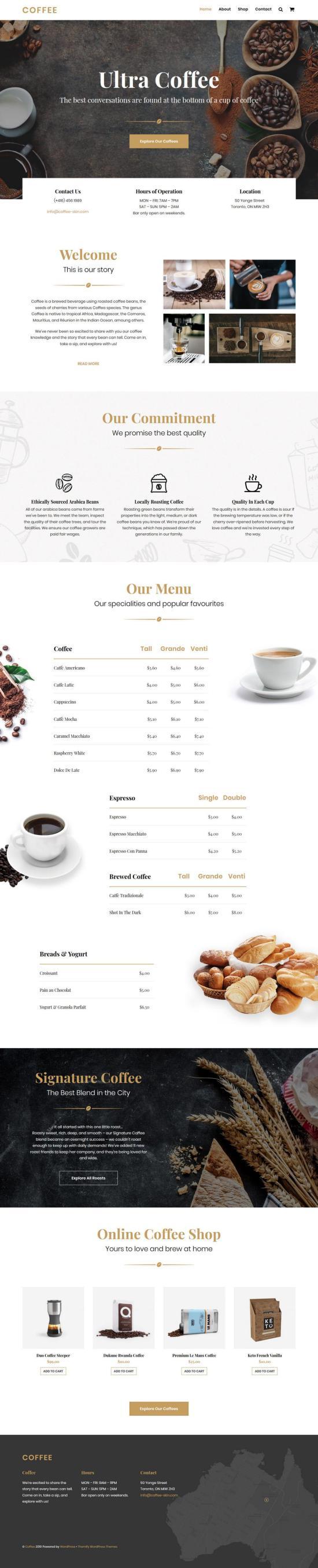 ultra coffee wordpress theme 01 - Ultra Coffee WordPress Theme