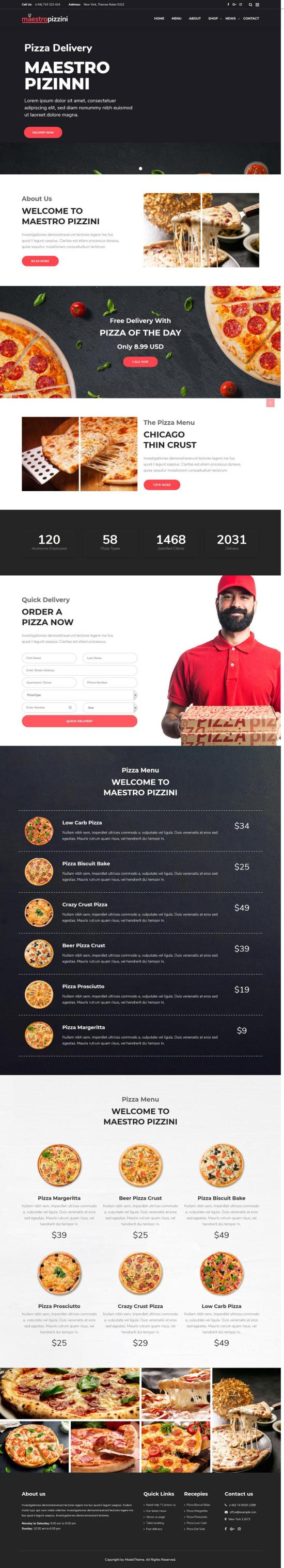 MaestroPizzini Restaurant WordPress Theme