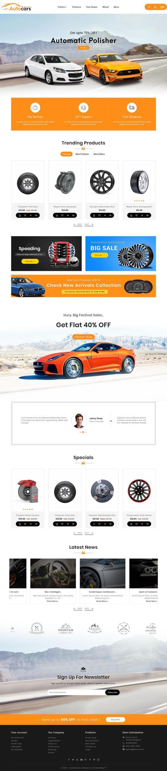 Auto Parts & Cars PrestaShop Theme Preview