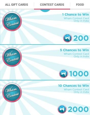 wham contest cards