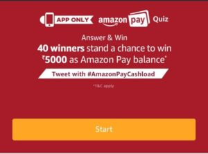 Amazon Pay Quiz : Participate and Win Free Rs 5000 Amazon Pay Balance (*All Answers*)