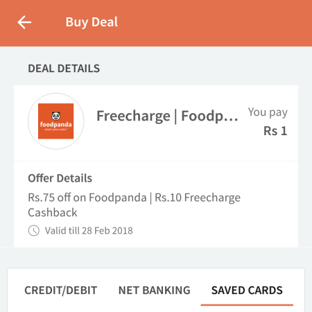 {*New Users*} Food Panda Combo Deal - Free 10 Rs Recharge From Freecharge