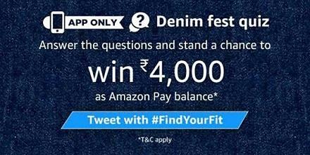 Amazon Denim Fest Quiz Answers - Participate and win Rs 4000 amazon pay balance