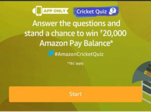 Amazon Cricket Quiz Answers - Participate & win Rs.20,000 amazon pay balance