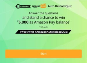 Amazon Auto Reload Quiz Answers - Win Free Rs.5000 amazon pay balance