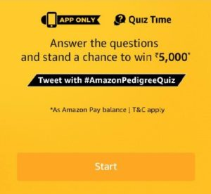 Amazon Pedigree Quiz Answers - Win Rs.5,000 Amazon pay balance