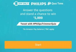 Amazon Philips Trimmer Quiz Answers - Win Rs.5,000 amazon pay balance