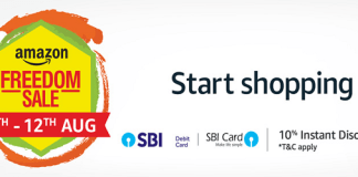Amazon Freedom Sale 2018 - Up to 80% Discount + 10% Instant Discount with SBI cards