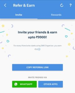 SMS Organizer App - Get Rs.30 Amazon Voucher On Each Refer Earn Up to Rs.9900