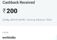 workindia app paytm proof