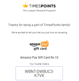 TimesPoints Amazon Voucher Proof