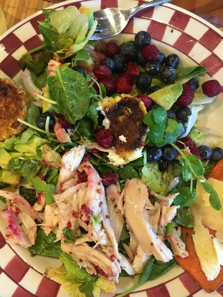 Raspberry Coconut Vinaigrette for Roasted Chicken Salad and melt in your mouth warm goat cheese