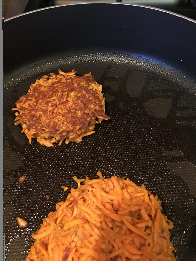 I love my Sweet Potatoes Pancakes fried in a little Coconut Ghee
