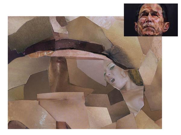 Le portrait de Bush, par Jonathan Yeo - agrandissement bouche