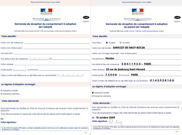 formulaire d'adoption Nicolas Sarkozy