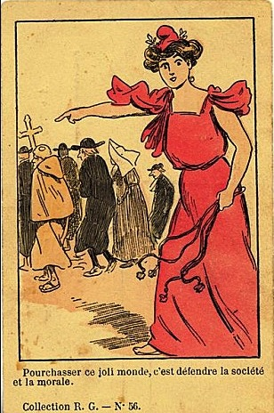 cartes postales anticléricales de 1905-1906 de Lavrate et de l'hebdomadaire Les Corbeaux
