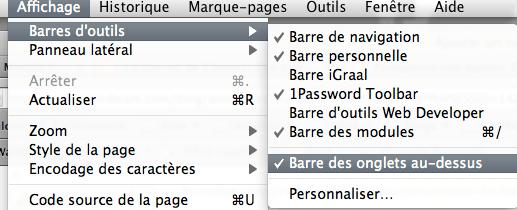 Firefox 4 : placer la barre des onglets au-dessous