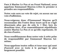 L'appel à Emmanuel Macron