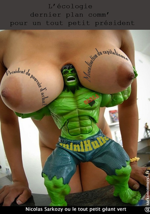 Nicolas Sarkozy tout petit géant vert