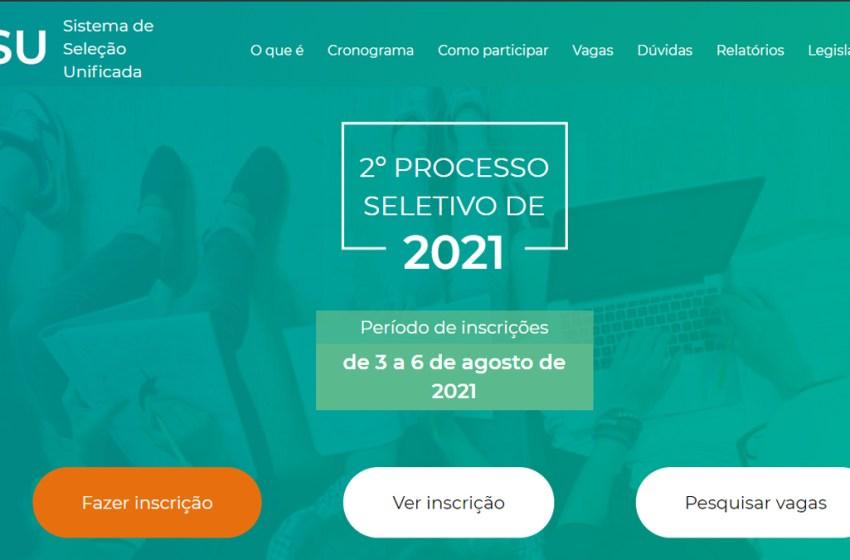 Abertas as inscrições para Sisu referente ao segundo semestre de 2021