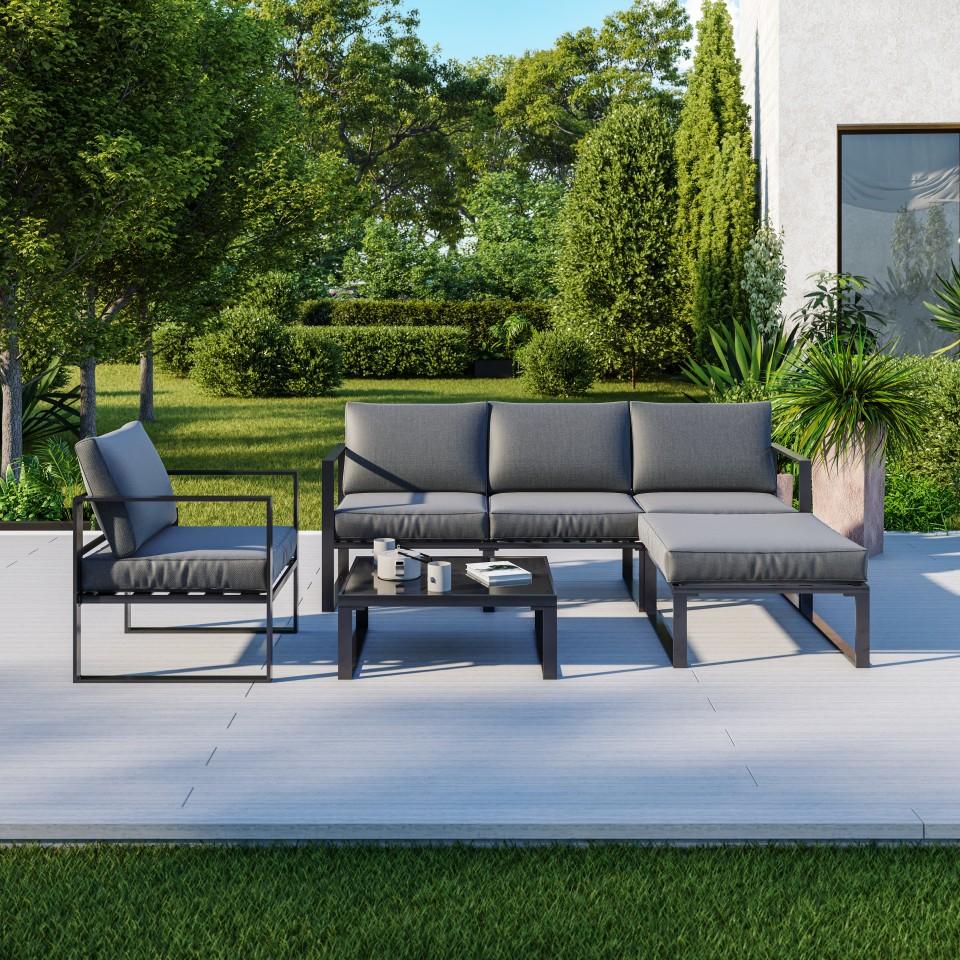 salon de jardin moderne gris