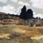 Painting of the dunes and a cloudy sky, wyperfeld national park