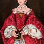 Elizabeth I stands holding a book -a copy of the Origin of the Species by Charles darwin. Her dress has a pattern of pleisoaurs and ptyrodactls and her underskirt has exitinct fossil fish. Oil painting of British royalty and dinosaur by Avril E Jean