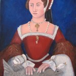 Potrait of Queen Mary Tudor (Bloody Mary) holding an extinct fossil lungfish, Barwikia downunder, which happens to be the fish I studied in honours.