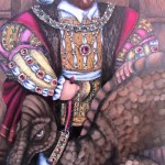 A portrait (after holbein) of King Henry Tudor (Henry VIII) sanding regally with his pet dinosaur, who is also blinged right up.