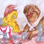 Painting of some dudes and their tiny elephant circus.