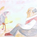 Painting showing a man watching a bird watching a man