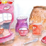 Painting of coffee machine having a happy ending into a coffee cup while other coffee related objects watchin excitement