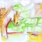 Painting of the cats helping me make the bed. I must say the bed gets made much faster WITHOUT those cats.