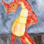 Painting of me as a wingless dragon holding my horrible slipped disc back and smiling through a haze of painkillers