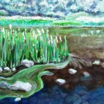 Not entirely sucessful oil painting of reeds on the snowy river