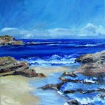 oil painting of the beach at sorrento
