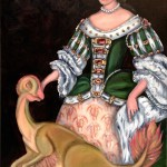 Mary Stuart, all blinged up with bothriolepis on hers skirt, poses with a feathered Oviraptor. Oil painting of British royalty and dinosaur by Avril E Jean