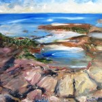 Poil painting of rock pools on a rock shore platform, artwork by avril e jean