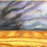 Pastel paiting of dark clouds over the wheat feilds, western victoria.