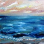 Oil painting by avril e jean of a beach with early evening sunset. Painted very much using fingers instead of brush