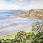 Watercolour painting of the headland at Flinders.