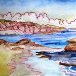 Small watercolour study of the beach at blairgowrie
